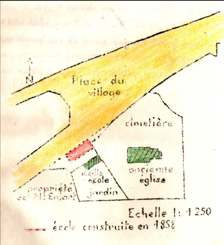 plan parcellaire du village en 1858